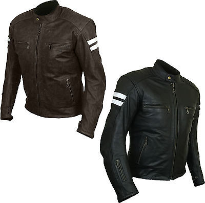 Leather Vintage Beckham Retro Motorcycle Motorbike Armoured Protection Jacket