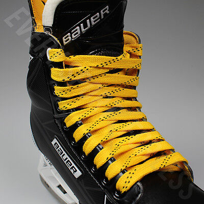 NEW Elite Pro X7 Molded Tip Wide Hockey Laces - Yellow / Black