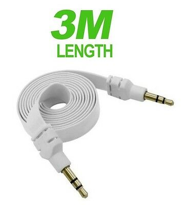 White Flat 3.5mm Auxillary Aux Audio Headphone Cable Cord Male-Male- 3 Metre
