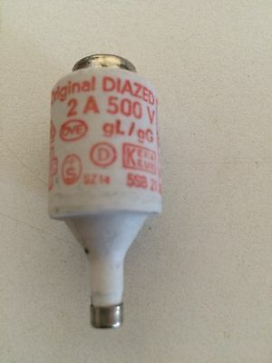 Original  Diazed 5SB21 Bottle Fuse 500V 2A (Red Label) NEW - NIB