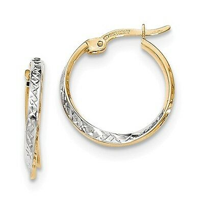 14k Yellow Gold and Rhodium Textured and Polished Hoop Earrings (0.8IN Long)