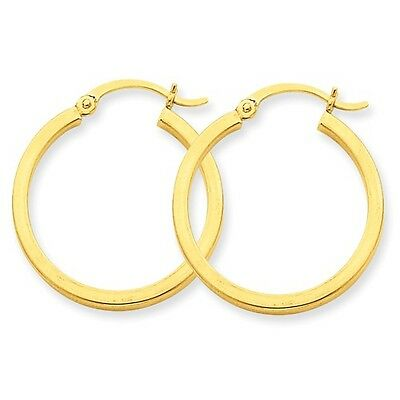 14k Yellow Gold 2mm Square Tube Hoop Earrings (25mm Diameter)