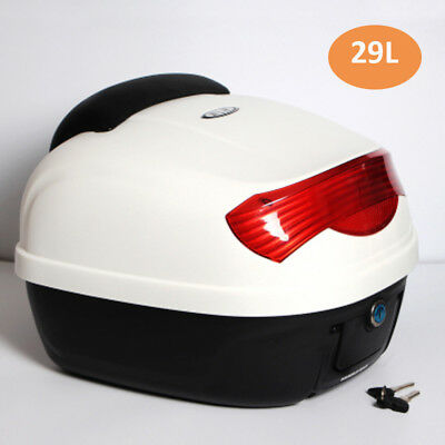 Durable PP Shell 29L White Motorcycle Rear Box Top Box Soft Backrest Reflector