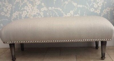 A Quality Long Footstool In Laura Ashley Edwin Dove Grey Fabric