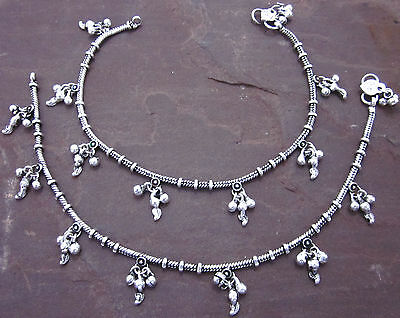 PAIR Brass Antique Silver Anklet Payal Indian Ethnic Kuchi Boho Barefoot Jewelry