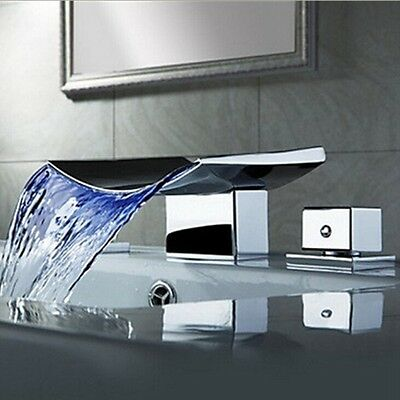 Luxury LED Waterfall Bathroom Basin Faucet Tub Spout Vanity Sink Mixer Tap NEW