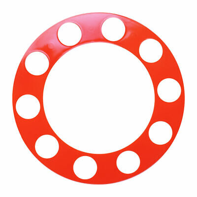 Wheel protector orange plastic 10 hole aluminum wheel Peterbilt Kenworth FL