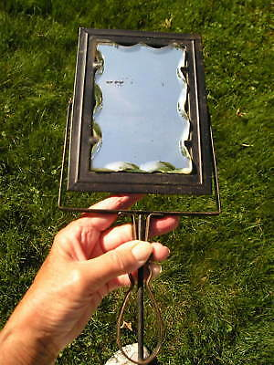 Antique Curved Edge Thick Glass Shaving Mirror Art Crafts Handle Travel~Vanity