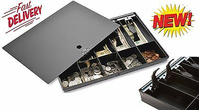 Money Tray Storage Box Locking Cover Store Cash Drawer Safe Security Register