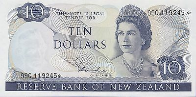 "New Zealand 10 Dollars""Replacement"" Banknote (1977-1981) Uncirculated Cat#166-D"