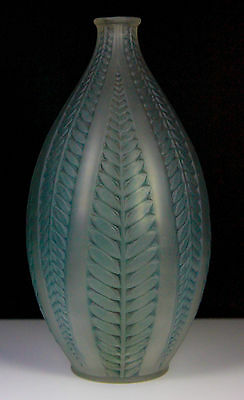 "Rene Lalique 8"" Glass Vase Art Deco Acacia Pattern C.1921+"