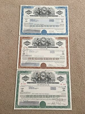 The Chrysler Company Original 3 Color Stock Certificate Set