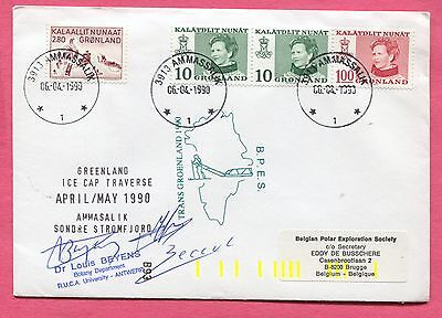 1990 Greenland Antarctic Expedition Cover Ice Cap Traverse * Signed