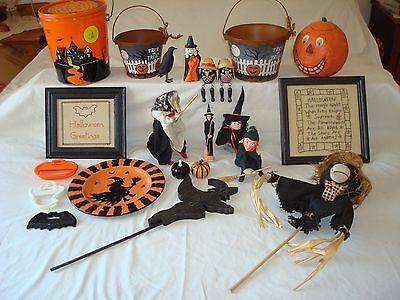 Vtg. Lot of Halloween~Witches~Needle Point Pictures~Pumpkin~Tin Pails and More