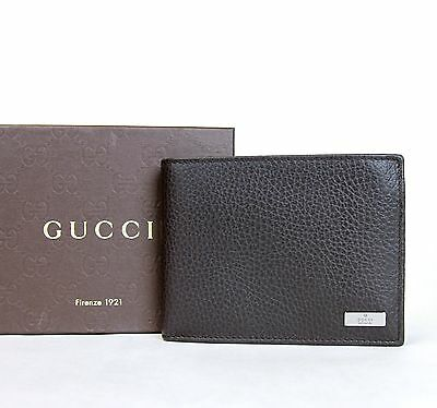 6a2e2bd7dc98a7 Authentic Gucci tri-fold Men's leather wallet w ID holder in dark brown  217042