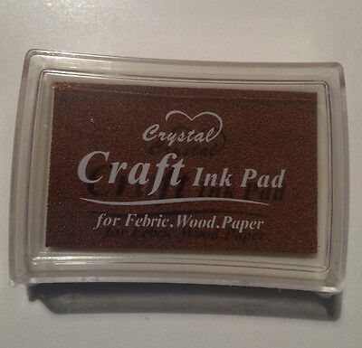 Stamp Ink Pad x 1: Brown Quality Oil Based Ink Pad suitable Fabric Wood Paper