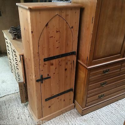 Reclaimed Interesting Pine Gothic Style Single Door Cupboard