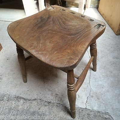 Reclaimed Victorian Beech & Elm Ex Kitchen Chair Now Stool