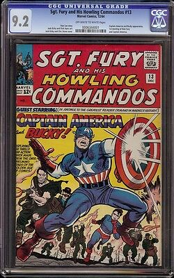 Sgt Fury # 13 CGC 9.2 OW/W (Marvel, 1964) 1st appearance Captain America in SA
