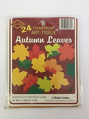 Beistle 5in Art Tissue Autumn Leaves 24 Multi Color Leaves Flameproof 1987 NOS