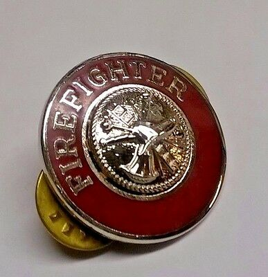 """Usa Fire Fighter Fire Dept Medallion Large Shield Lapel Pin Badge 1"""" Inch"""