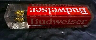"""Vintage Budweiser Bar Beer Tap Handle 4.25"""" Floating Gold Charm Durable Acrylic"""