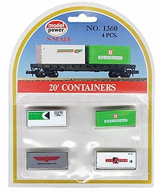 Model Power 490-1360 N 20' Containers Assortment Evergreen, SeaLand, CP Ships, A