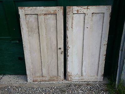 "ANTIQUE 2 Wooden Double Panel Doors 43"" Long by 22"" Wide"