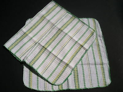 Vintage Cotton Kitchen 3 Dish Cloths and 2 Towels~5 pcs Old Store Stock 1960s