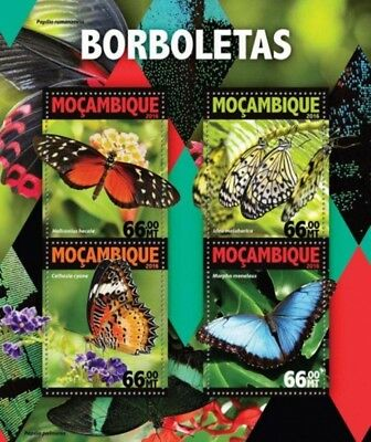 Mozambique - 2016 Butterflies on Stamps - 4 Stamp Sheet - MOZ16122a