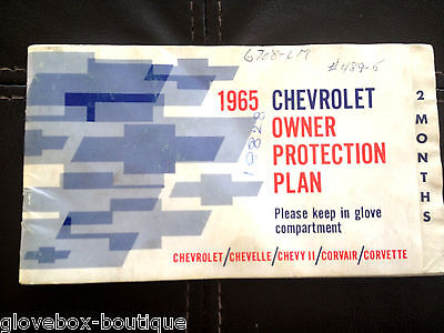 1965 Corvette Factory GM Original W/Plate Owner Protection Plan 194375S103847