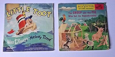 Vtg childs LP Capitol records Little Toot RCA Victor Sheep and Pig Disney 1940s