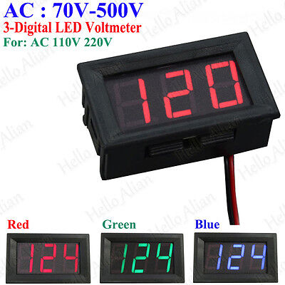 AC70V-500V 3-Digital LED AC Voltage Panel Meter Voltmeter AC 110V 220V 230V 240V