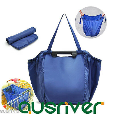 2Pcs 68L Reusable Grocery Cart Shopping Trolley Bag Carrier Freshness Protection