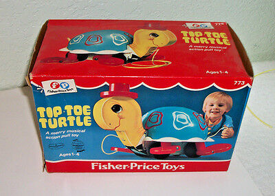 Vintage 1962 Fisher Price Tip Toe Turtle pull toy #773 mint in box boy or girls