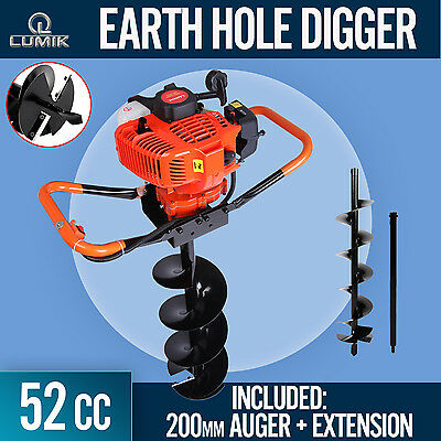 NEW 52cc Post Hole Digger Earth Auger Petrol Drill Bits Fence Borer Professional