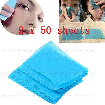 100× Naturel Papier Tissue Huile Absorbant Oil Maquillage Nettoyage Soin Visage