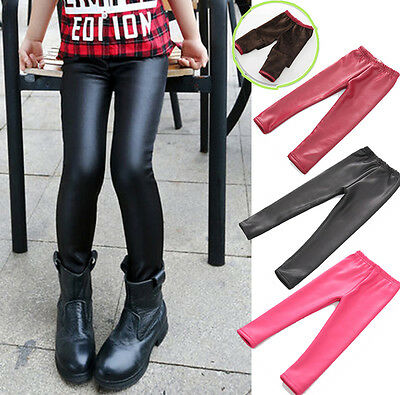 Girls Boys Fall Winter Kids Leather Leggings Pants Fittness Legging Trousers