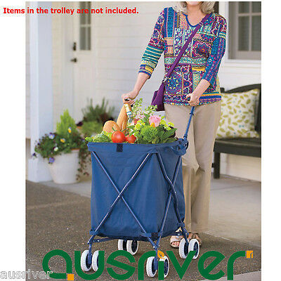 82L Folding Shopping Cart Trolley Steel Bag Luggage Basket Wheels Large Capacity