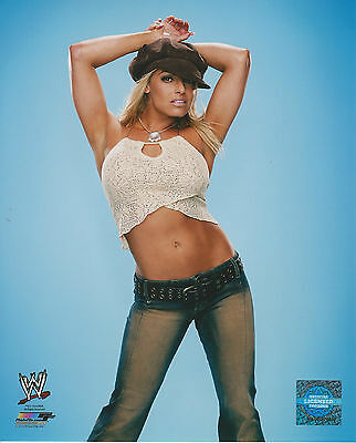 WWE 8x10 Official Promo Photo Trish Stratus Blue Background 2014