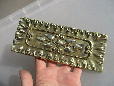 Victorian Brass Finger Plate Push Door Handle Art Nouveau Floral Antique 1887