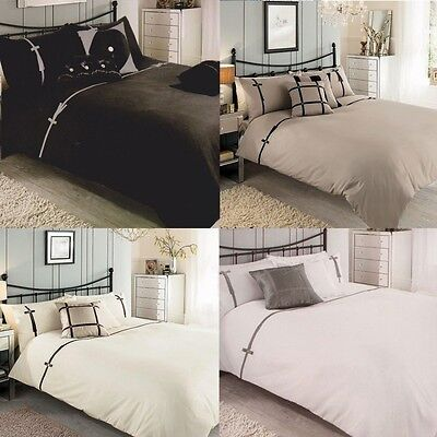 Levise luxury Duvet Cover Bedding Set Ribbon All Sizes Available 4 Colours