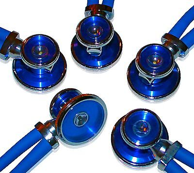 5 Pack of Bling Sprague Rappaport-Type, Adult Stethoscopes - Royal Blue