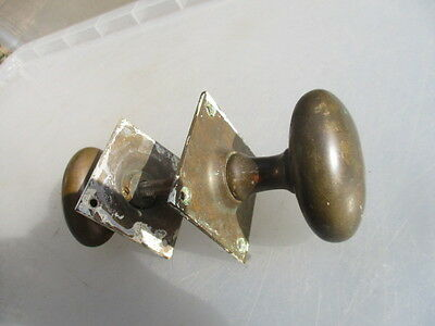 Antique Bronze Door Knobs Handles Architectural Salvage Vintage Old Oval Square