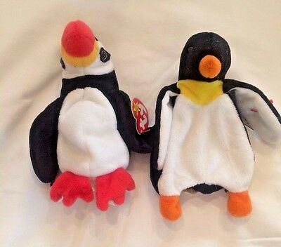 TY Beanie Babies Originals Lot Waddle and Puffer the Penguin Puffin Retired MWMT