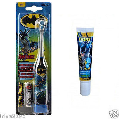 Batman Kids Boy`s Turbo Power Battery Powered Toothbrush and Toothpaste Oral Set