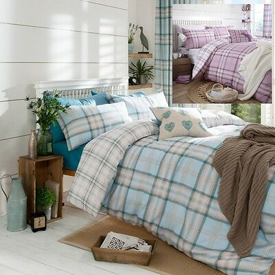Catherine Lansfield Kelso Heather Luxury Duvet Cover Bedding Set