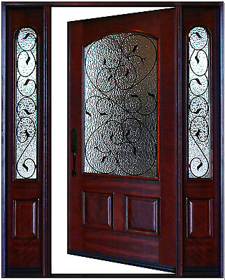 """Exterior Front Entry Wood Door Valencia 1D+2SL 12""""-36""""x80"""" Right Hand Swing In"""