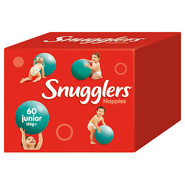 Snugglers Nappies Junior 16kg+ JUMBO 60 (Limit of 1 per order) NEW