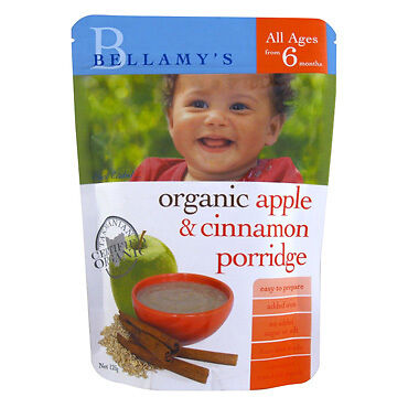 Bellamys Organic Apple and Cinnamon Porridge 125G NEW